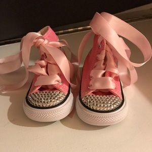 Toddler pink converse with Swarovski crystals NEW